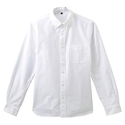 オーガニックコットンオックスフォードボタンダウンシャツ 紳士L・白