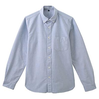 オーガニックコットンオックスフォードボタンダウンシャツ 紳士XS・ブルー