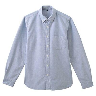 オーガニックコットンオックスフォードボタンダウンシャツ 紳士S・ブルー