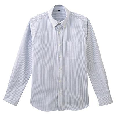ストレッチオックスストライプボタンダウンシャツ 紳士L・ブルー