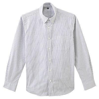 ストレッチオックスストライプボタンダウンシャツ 紳士S・黒