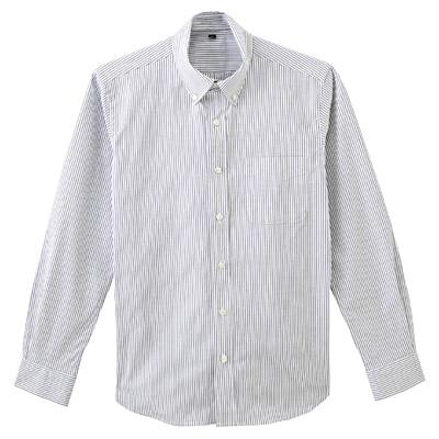 ストレッチオックスストライプボタンダウンシャツ 紳士L・黒