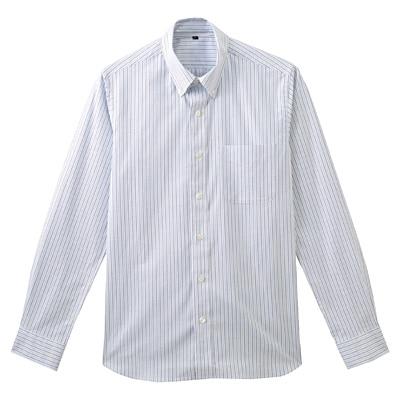 ストレッチオックスストライプボタンダウンシャツ 紳士M・サックスブルー