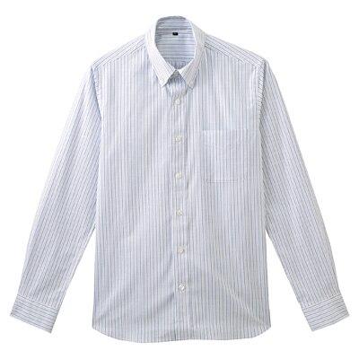 ストレッチオックスストライプボタンダウンシャツ 紳士XL・サックスブルー