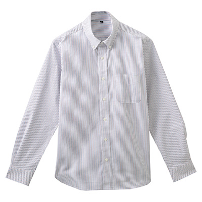 ストレッチオックスストライプボタンダウンシャツ 紳士M・赤