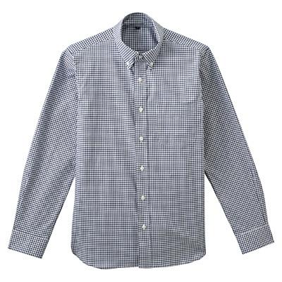 ストレッチオックスギンガムチェックボタンダウンシャツ 紳士S・ネイビー