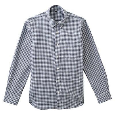 ストレッチオックスギンガムチェックボタンダウンシャツ 紳士L・ネイビー