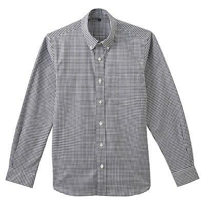 ストレッチオックスギンガムチェックボタンダウンシャツ 紳士M・黒