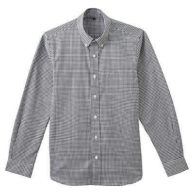 ストレッチオックスギンガムチェックボタンダウンシャツ 紳士L・黒