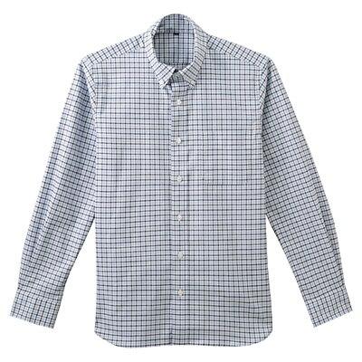 ストレッチオックスギンガムチェックボタンダウンシャツ 紳士L・サックスブルー
