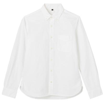 オーガニックコットン洗いざらしオックスボタンダウンシャツ 紳士XS・白
