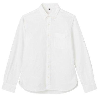 オーガニックコットン洗いざらしオックスボタンダウンシャツ 紳士XL・白