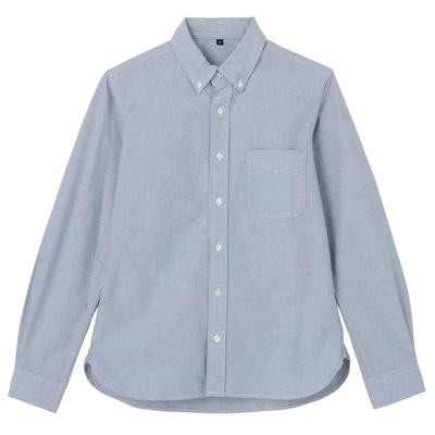 オーガニックコットン洗いざらしオックスボタンダウンシャツ 紳士S・ブルー