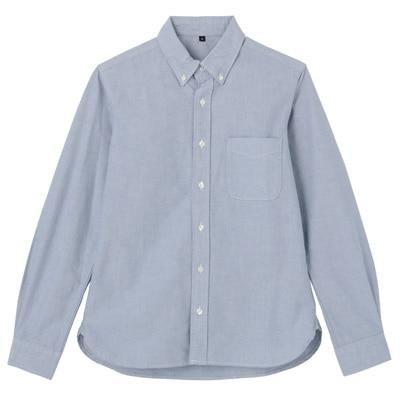 オーガニックコットン洗いざらしオックスボタンダウンシャツ 紳士XL・ブルー