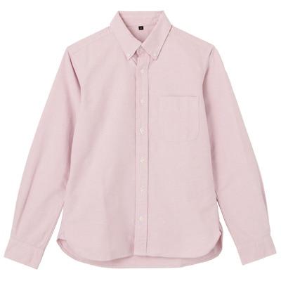 オーガニックコットン洗いざらしオックスボタンダウンシャツ 紳士L・ピンク