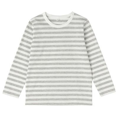 毎日のこども服しましま長袖Tシャツ キッズ130・グレー×ボーダー