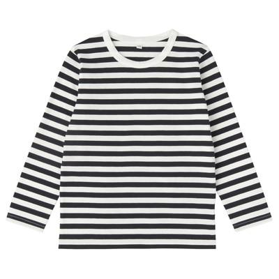 毎日のこども服しましま長袖Tシャツ キッズ130・ネイビー×ボーダー