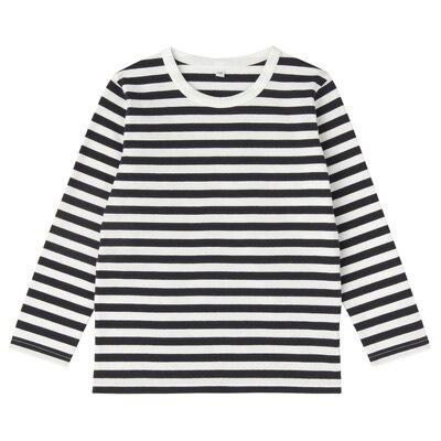 毎日のこども服しましま長袖Tシャツ キッズ140・ネイビー×ボーダー
