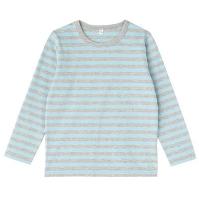 毎日のこども服しましま長袖Tシャツ キッズ140・ベビーブルー×ボーダー