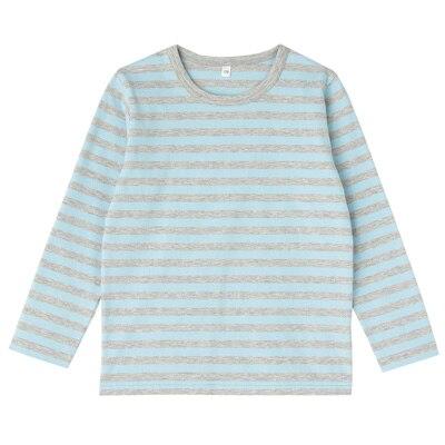毎日のこども服しましま長袖Tシャツ キッズ150・ベビーブルー×ボーダー