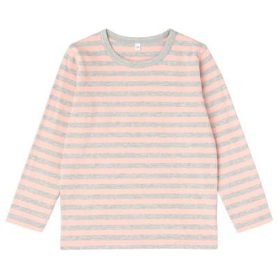 毎日のこども服しましま長袖Tシャツ キッズ120・ライトピンク×ボーダー