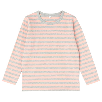 毎日のこども服しましま長袖Tシャツ キッズ130・ライトピンク×ボーダー