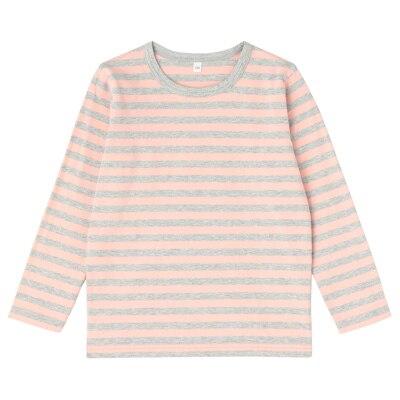 毎日のこども服しましま長袖Tシャツ キッズ140・ライトピンク×ボーダー