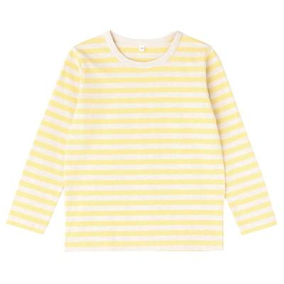 毎日のこども服しましま長袖Tシャツ キッズ110・レモン×ボーダー