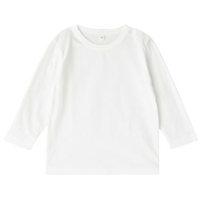 毎日のこども服長袖Tシャツ ベビー90・オフ白