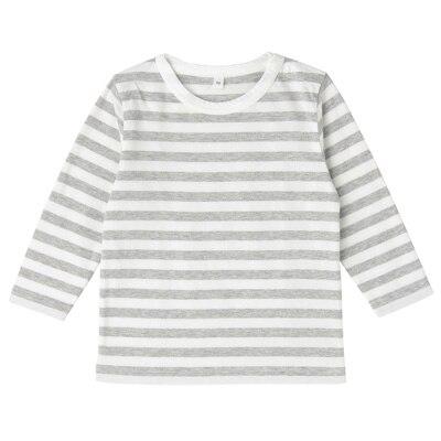 毎日のこども服しましま長袖Tシャツ ベビー80・グレー×ボーダー