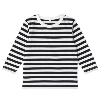 毎日のこども服しましま長袖Tシャツ ベビー80・ネイビー×ボーダー