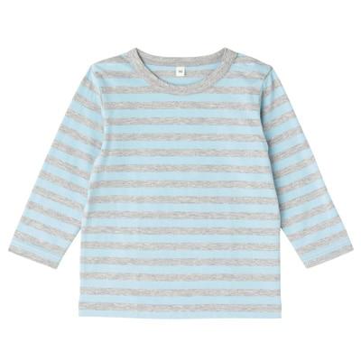 毎日のこども服しましま長袖Tシャツ ベビー80・ベビーブルー×ボーダー