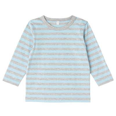 毎日のこども服しましま長袖Tシャツ ベビー90・ベビーブルー×ボーダー