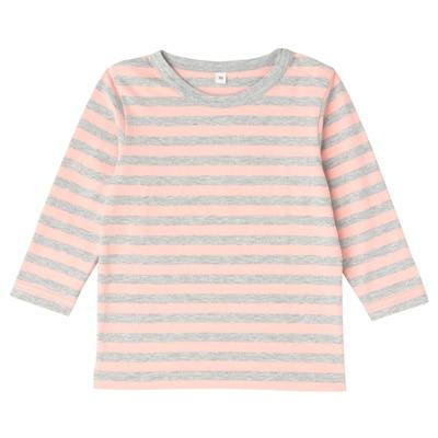 毎日のこども服しましま長袖Tシャツ ベビー90・ライトピンク×ボーダー