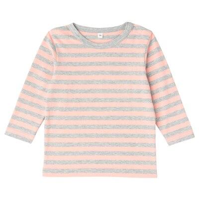毎日のこども服しましま長袖Tシャツ ベビー100・ライトピンク×ボーダー