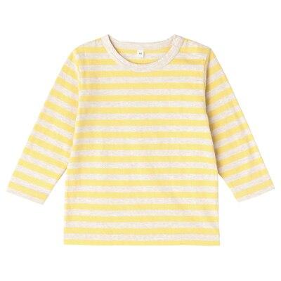 毎日のこども服しましま長袖Tシャツ ベビー80・レモン×ボーダー