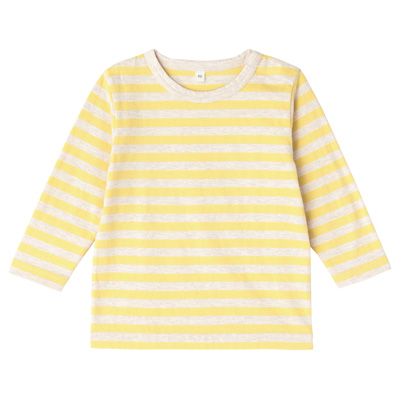毎日のこども服しましま長袖Tシャツ ベビー100・レモン×ボーダー
