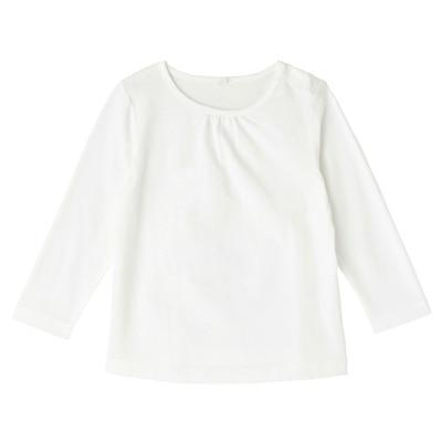 毎日のこども服ギャザー使い長袖Tシャツ ベビー100・オフ白