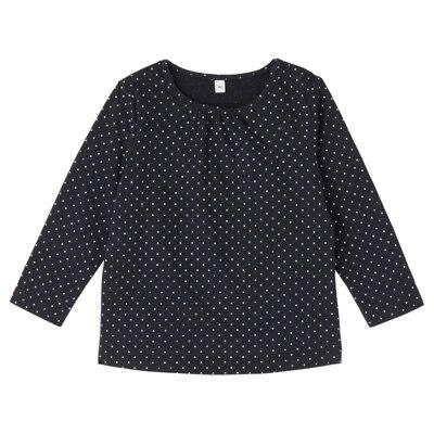 毎日のこども服ギャザー使い長袖Tシャツ ベビー100・ネイビー×柄