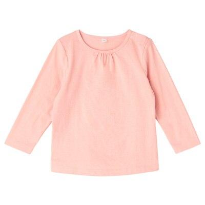 毎日のこども服ギャザー使い長袖Tシャツ ベビー80・ライトピンク