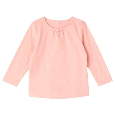 毎日のこども服ギャザー使い長袖Tシャツ ベビー90・ライトピンク