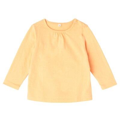 毎日のこども服ギャザー使い長袖Tシャツ ベビー80・ペールピーチ