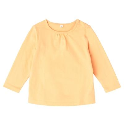 毎日のこども服ギャザー使い長袖Tシャツ ベビー90・ペールピーチ