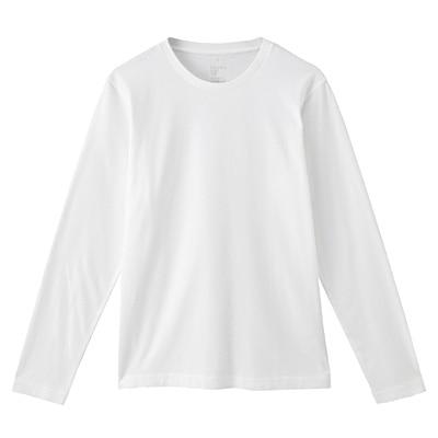 オーガニックコットンクルーネック長袖Tシャツ 紳士L・オフ白