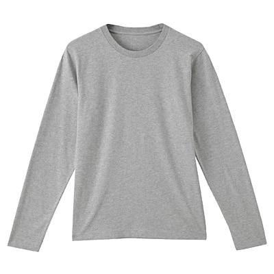 オーガニックコットンクルーネック長袖Tシャツ 紳士S・ライトシルバーグレー