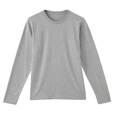 オーガニックコットンクルーネック長袖Tシャツ 紳士L・ライトシルバーグレー