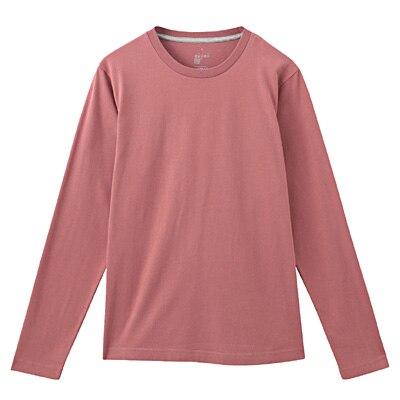 オーガニックコットンクルーネック長袖Tシャツ 紳士S・ライトピンク
