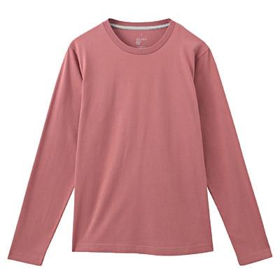 オーガニックコットンクルーネック長袖Tシャツ 紳士L・ライトピンク