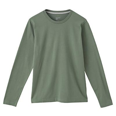 オーガニックコットンクルーネック長袖Tシャツ 紳士S・ライトグリーン