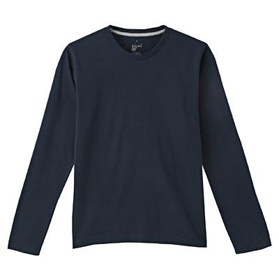 オーガニックコットンクルーネック長袖Tシャツ 紳士XL・ダークネイビー
